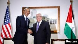 Palestinë - Fotografi nga takimi i fundit i presidentit amerikan Barack Obama presidentit palestinez Mahmoud Abbas në Ramallah, 21 mars, 2013 (Ilustrim)