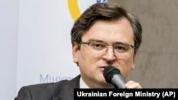 Министр иностранных дел Украины Дмитрий Кулеба на пресс-конференции в Киеве. 15 апреля 2021 года.