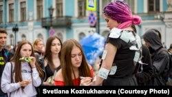 Акция со стикерами, посвященная буллингу, в Санкт-Петербурге. Фото: Светлана Кожуханова