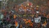 """Kataloniyada """"müstəqillik"""" və """"siyasi məhbuslara azadlıq"""" şüarı ilə nümayiş keçirilib"""