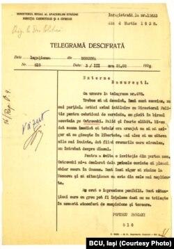 Telegrama Ambasadei României de la Moscova privind acuzarea lui M.Ostrovski