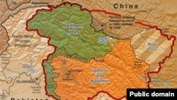 O hartă a regiunii Kashmir