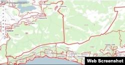 Адміністративний кордон між Кримом і Севастополем у районі Байдарського заказника згідно з публічною кадастровою картою Росії