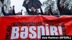 Azerbaijan. Baku. Opposition president candidate Jamil Hasanli's protest action in Baku