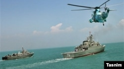 An Iranian navy drill off the Strait of Hormuz (file photo)