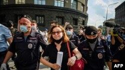 Protest la Moscova, împotriva reținerii jurnalistului Ivan Safronov, acuzat de spionaj, Moscova, 7 iulie 2020.