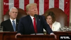 Donald Trump rostind discursul asupra Stării Uniunii, Washington, 4 februarie 2020