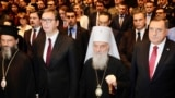 Patriarch of the Serbian Orthodox Church SPC Irinej honors Serbian President Aleksandar Vucic and BiH presidency member Milorad Dodik