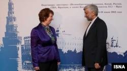 سعید جلیلی، دبیر شورای امنیت عالی ایران و کاترین اشتون، مسئول سیاست خارجی اتحادیه اروپا.
