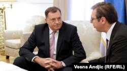Претседателот на Република Српска Милорад Додик и претседателот на Србија, Александар Вучиќ