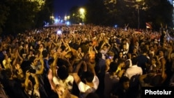 Armenia - Thousands of people continue to demonstrate on Marshal Bagramian Avenue in Yerevan, 27Jun2015.
