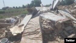 یکی از عکس هایی که «جمعیت امام علی» از تخریب این خانه ها در توییتر منتشر کرده است.