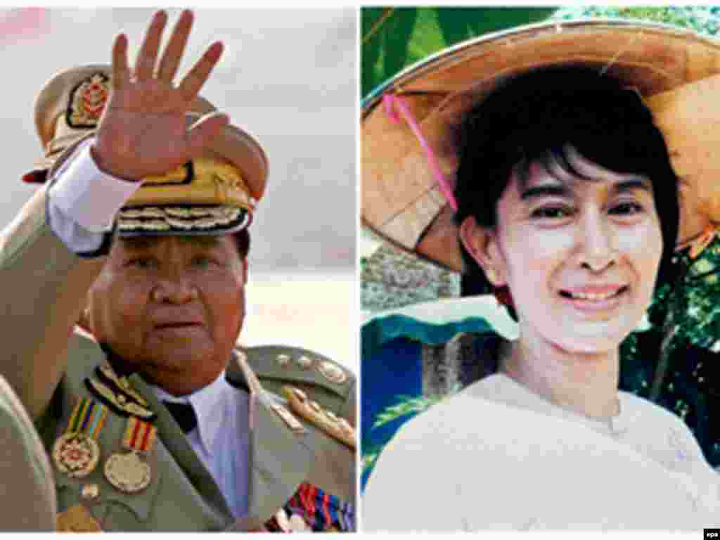 Burma/Myanmar - This combo of file photos shows Myanmar Senior General Than Shwe and Myanmar democracy leader Aung San Suu Kyi (R), 05Oct2007 - Caption: epa01139302 (FILE) This combo of file photos shows Myanmar Senior General Than Shwe (L) waving during the 62nd anniversary Armed Forces Day in the new capital of Nay Pyi Taw in 2007 and Myanmar democracy leader Aung San Suu Kyi (R) smiling in her garden in 2002. Myanmar's junta chief Senior General Than Shwe has agreed to meet with democracy icon Aung San Suu Kyi if she stops calling for confrontation ' utter devastation ' and economic sanctions against the regime state-media said 05 October 2007. Than Shwe has never met with the 1991 Nobel Peace Prize laureate and there is a great deal of skepticism about his willingness to do so in the near future