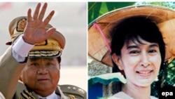Генерал Тан Све, раҳбари режими низомии Мянмар (аз тарафи чап) ва раҳбари мухолифини ин режим Сан Су Чӣ (аз тарафи рост)