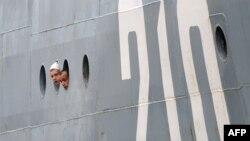 """Русские матросы прибыли в порт Сен-Назер на борту учебного корабля """"Смольный"""""""