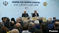 Armenia - President Serzh Sarkisian (R) and his Iranian counterpart Hassan Rouhani open an Armenian-Iranian business forum in Yerevan, 21Dec2016.