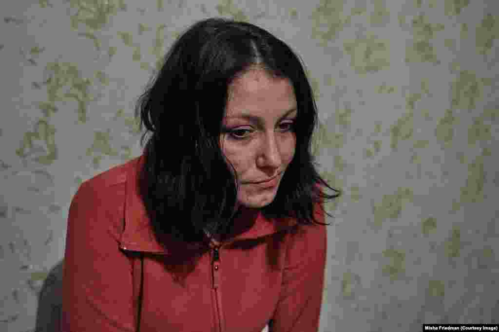 Iryna, 28, fled the war from Yenakiyeve, a town now under separatist control in eastern Ukraine. The HIV sufferer is an intravenous drug user and receives substitution therapy, which was made illegal by separatists.