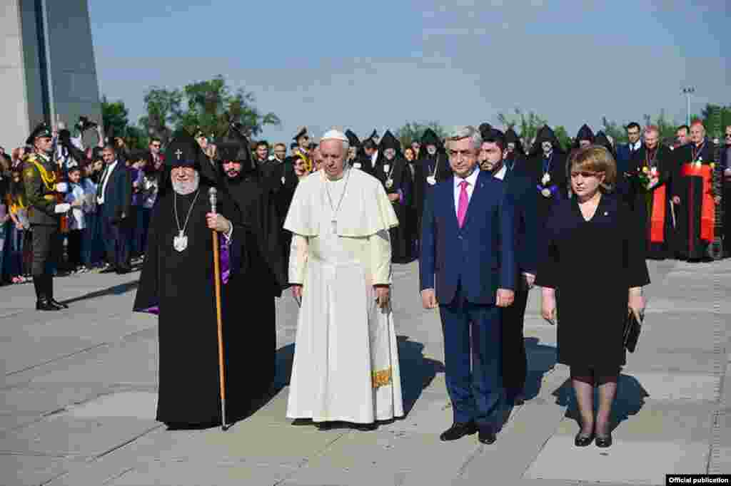 Armenia - Pope Francis pays a visit to the Armenian Genocide memorial complex during the official visit to Armenia 25 June 2016