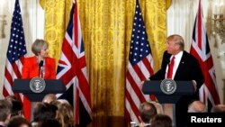 ԱՄՆ նախագահ Դոնալդ Թրամփի և Մեծ Բրիտանիայի վարչապետ Թերեզա Մեյի համատեղ ասուլիսը Սպիտակ տանը, Վաշինգտոն, 27-ը հունվարի, 2017թ․