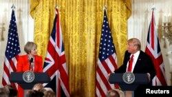 ტერეზა მეის და დონალდ ტრამპის ერთობლივი პრესკონფერენცია თეთრ სახლში. 2017 წლის 27 იანვარი