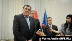 Milorad Dodik, Aleksandar Vučić i Ivica Dačić u Beogradu, decembar 2015.