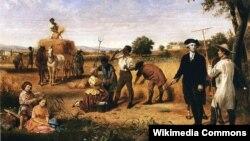 Джордж Вашингтон наблюдает за сельскохозяйственными работами в своем поместье Маунт-Вернон. Художник Юний Брут Стернс. 1851