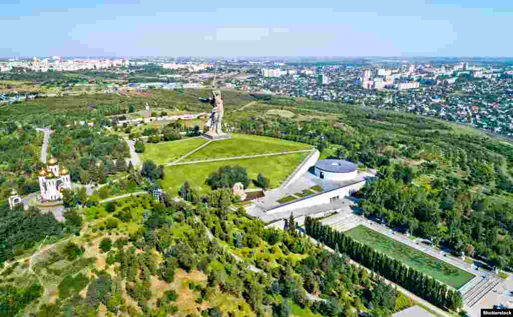An overview of the memorial complex. The remains of more than 35,000 Soviet soldiers are interred in the area around the Motherland Calls statue. More than 1.5 million people were killed during the battle for Stalingrad, which is seen as a key turning point in World War II.