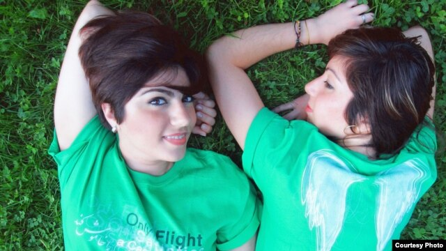 Melody (left) and Safoura Safavi, sisters and founders of the Iranian band Abjeez