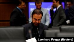 AUSTRIIA -- Iranian ambassador to the International Atomic Energy Agency (IAEA) Reza Najafi waits for the start of a board of governors meeting at the IAEA headquarters in Vienna, June 4, 2018