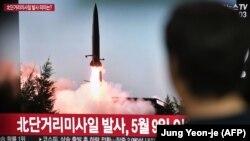 تصویر یکی از شلیکهای قبلی کره شمالی در تلویزیون همسایه جنوبیاش؛ عکس از بایگانی