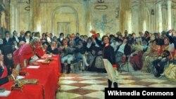 Александр Пушкин на лицейском экзамене в Царском Селе. Картина И. Репина (1911)