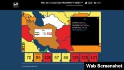شاخص رفاه سال ۲۰۱۲ لگاتوم برای خاورمیانه.