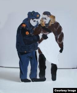 Лусинэ Джанян, Картонный ОМОНовец арестовывает картонного протестующего, 2012