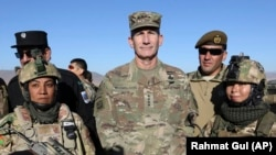 FILE: Army General John Nicholson, U.S. forces in Afghanistan, poses for photograph after an exercise in the Mohammad Agha district of Logar province in November 2017.