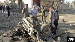 بقايا سيارة مفخخة إنفجرت في كركوك