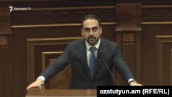 Armenia -- Deputy Prime Minister Tigran Avinian speaks in the National Assembly October 2, 2019