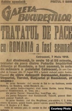 """""""Tratatul de Pace cu România a fost semnat"""", articol în Gazeta Bucureștilor, 7 mai 1918 Sursa: Expoziția Marele Război, 1914-1918, Muzeul Național de Istorie a României)"""