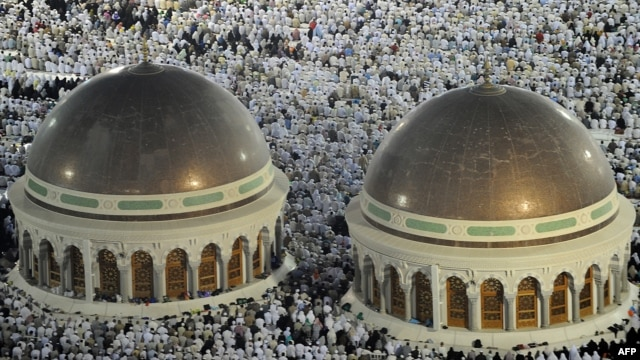 Pilgrims performed evening prayers in Mecca's Grand Mosque on October 8, as more than 2 million Muslims converged on the holy city for the annual hajj pilgrimage.