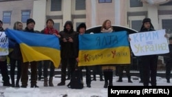 Kiyevde Qırımdan köçip kelgenlerniñ aktsiyası, 2015 senesi yanvar 20 künü
