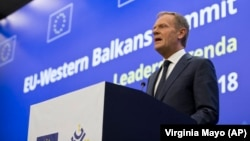 European Council President Donald Tusk speaks during a media conference prior to an EU-Western Balkans summit at the National Palace of Culture in Sofia on May 16.