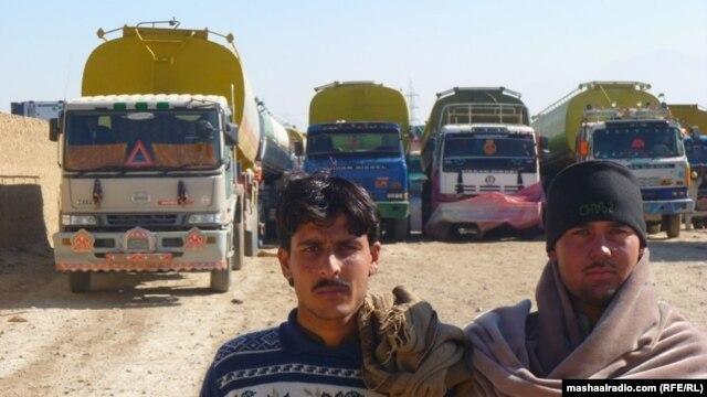 NATO supply trucks stuck at the Chaman border crossing in December.
