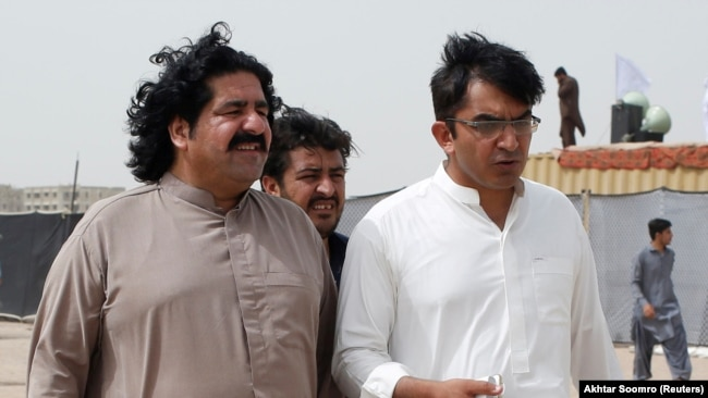 FILE: Ali Wazir (L) and Mohsin Dawar, leaders of the Pashtun Tahafuz Movement (PTM).