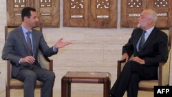 Прэзыдэнт Сырыі Башар Асад і ачольнік Міжнароднага камітэту Чырвонага крыжа Якаб Келенбергер, перамовы ў Дамаску, 5 верасьня, 2011