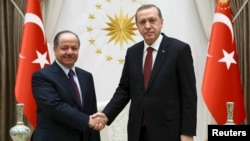 Turkish President Recep Tayyip Erdogan (right) meets with Iraqi Kurdish regional President Masud Barzani at the Presidential Palace in Ankara on December 9.