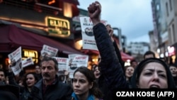 "Protesters in Istanbul chant ""no"" to a referendum giving Turkish President Recep Tayyip Erdogan expanded powers"