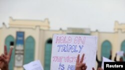 Libyan protesters chant antigovernment slogans on a main square in Tobruk on February 22.