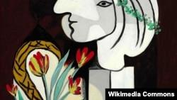"Пабло Пикассонинг ""Лолалар билан натюрморт"" расми."