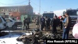 آثار التفجير في منطقة نادر الثالثة بالحلة