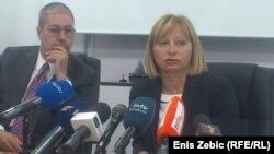 Mladen Cerovac i Olgica Spevec na konferenciji za novinare u Zagrebu, 19. lipanj 2013.