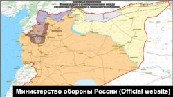 A map locating control of territory in northeastern Syria based on a Russian-Turkish memorandum